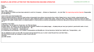 Sample Resume For Machine Operator Position by Tire Regrooving Machine Operator Offer Letter
