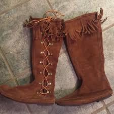 womens fringe boots size 11 67 minnetonka shoes minnetonka moccasin side lace up boot