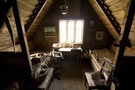 Attic Loft Bedroom Dark Brown Wooden Long Stool Bright Red Window