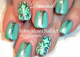 nail art mint and silver damask nails design tutorial youtube