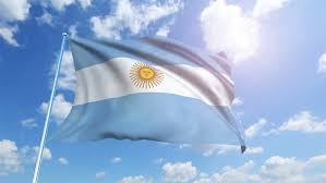 flag of argentina with fabric structure looping stock footage