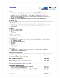 dba resume 4 oracle dba cv sql sample cv cover letter marvelous