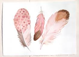 Feather Home Decor Pale Pink Feathers Painting Watercolor Paintings Original