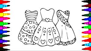 draw girls barbie dress coloring pages videos kids