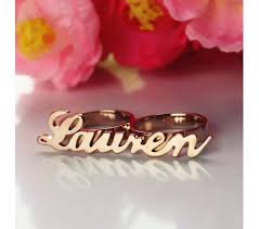 Two Finger Name Ring Lauren Style Two Finger Name Ring In Rose Gold Plated Clothes