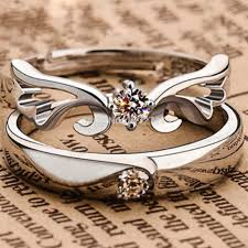 fashion couples rings images 1 pair vintage turkish silver color crystal angel wing opening jpg