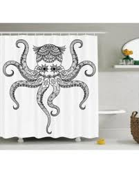 huge deal on octopus decor shower curtain set octopus doodle
