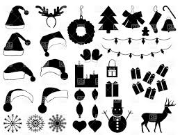 silhouettes of christmas hats and decorations xmas icons vector