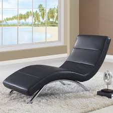 Leather Chaise Lounge Sofa Global Furniture Usa Leather Chaise In Black With Chrome Legs