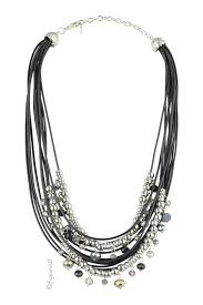 rope necklace black images Jaclyn silver bead black rope necklace in silver black by jpg