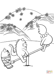 toodee brobee and foofa are playing on swing coloring page free