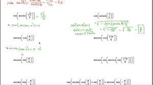 inverse trig worksheet part 1 youtube