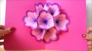 easy paper craft diy flower pop up card diy 3d card birthday