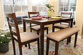 amazon com 5pc dining dinette table chairs u0026 bench set walnut