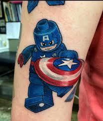 captain america lego tattoo colorful tattoos pinterest