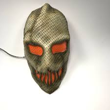 scarecrow mask with optional led light handmade genuine leather