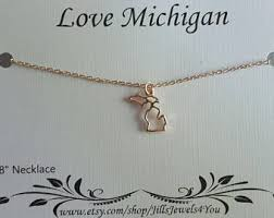 necklace silver etsy images Michigan necklace etsy jpg