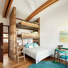 triple bunk bed kids traditional with blue wall bedroom