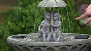 solar fountains with lights children with umbrella lighted solar fountain by smart solar on qvc
