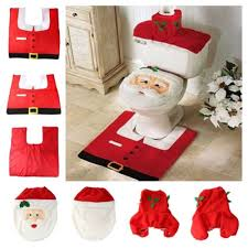 Christmas Towels Bathroom Christmas Decoration Santa Toilet Set Seat Cover U0026 Rug U0026 Tissue