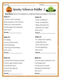 spooky inference riddles 2 halloween printable for ela tpt