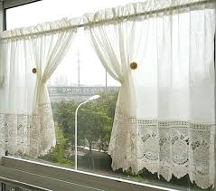 short lace curtains free shipping white plaid short curtain lace