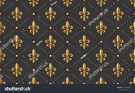 seamlessly tiling golden fleurdelis pattern on stock vector