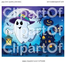 clipart of a halloween ghost wearing a witch hat and flying with a