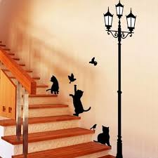 arrived cat and bird wall sticker lamp and cat stickers decor