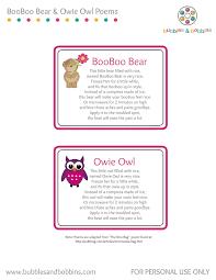 booboo bear u0026 owie owl poem jpg
