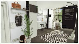 sims 4 small black u0026 white kitchen with livingroom room mods