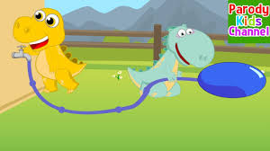 dino family jumps on a water balloon funny story dinosaur for kids