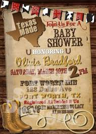 printable made in western themed baby shower invitation
