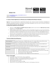 Vmware Resume Resume Ashok Kn Senior Windows U0026 Vmware Datacenter Admin Ibm 5 Yrs