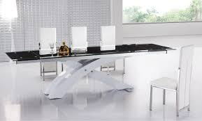 White Modern Dining Room Sets Black And White Dining Table With Contemporary Stainless X Base