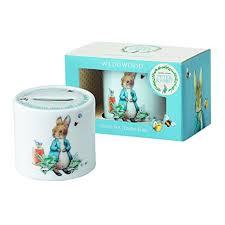 wedgwood rabbit wedgwood boy s rabbit money box white and blue