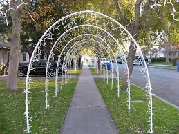 Outdoor Christmas Tree Made Of Lights by Lighted Arches Made Out Of 1 2 Inch Pvc Pipe Held In Place By 3