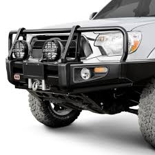 toyota tacoma front bumper guard arb toyota tacoma 2005 2011 deluxe width black front winch