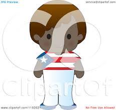Puertorican Flag Cartoon Of A Happy Patriotic Boy Wearing Puerto Rican Flag