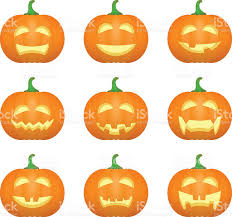 halloween carved pumpkins carved face emotions set vector stock