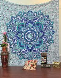 amazon com green and blue mandala tapestry ombre mandala wall