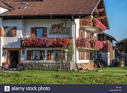 bavaria bavarian farm house with typical balcony with flowers