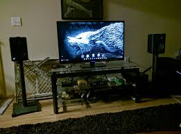 Living Room Set Up by Living Room Setup Using My Gaming Pc That I Built And Use A Custom