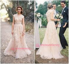 discount cheap 2017 blush champagne v neck lace wedding dresses