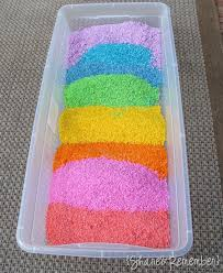 rice table for kids 5 ways to keep kids happy this summer colored rice rice and rainbows