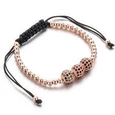 rose bracelet charm images Trendy brand rose golden crystal shambhala bracelet charm 3 ball jpg