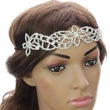gatsby headband diamante wide hairband forehead wedding headpiece elastic bridal