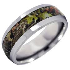 lashbrook titanium with mossy oak obsession camouflage inlay - Mossy Oak Wedding Rings