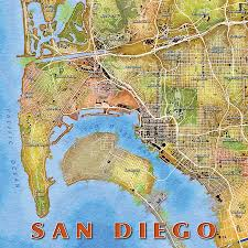 Maps San Diego by San Diego Watercolor Map Digital Art By Paul Hein