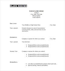 free printable fill in the blank resume templates sample blank